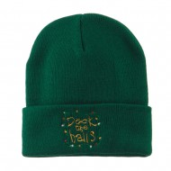 Deck the Halls with Lights Embroidered Beanie - Dark Green