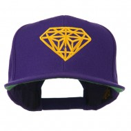 Diamond Outline Embroidered Snapback Flat Bill Cap - Purple