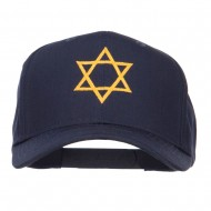 Star of David Embroidered Cotton Twill Cap - Navy