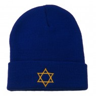 Star of David Embroidered Long Beanie - Royal