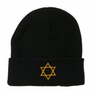 Star of David Embroidered Long Beanie - Black