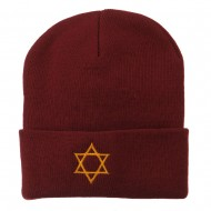 Star of David Embroidered Long Beanie - Maroon