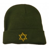 Star of David Embroidered Long Beanie - Olive