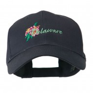 USA State Flower Delaware Peach Blossom Embroidered Cap - Navy