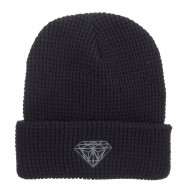 Grey Diamond Embroidered Waffle Cuff Beanie - Black