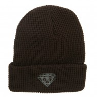 Grey Diamond Embroidered Waffle Cuff Beanie - Brown