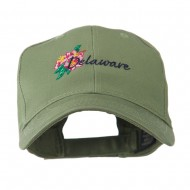 USA State Flower Delaware Peach Blossom Embroidered Cap - Olive