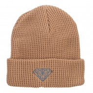 Grey Diamond Embroidered Waffle Cuff Beanie - Sand