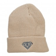 Grey Diamond Embroidered Waffle Cuff Beanie - Beige