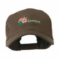 USA State Flower Delaware Peach Blossom Embroidered Cap - Brown