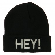 Hey Embroidered Long Cuff Beanie - Black
