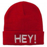 Hey Embroidered Long Cuff Beanie - Red