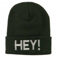 Hey Embroidered Long Cuff Beanie - Olive