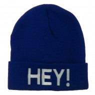 Hey Embroidered Long Cuff Beanie - Royal