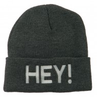 Hey Embroidered Long Cuff Beanie - Grey