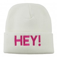 Hey Embroidered Long Cuff Beanie - White