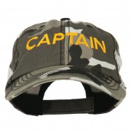 Captain Embroidered Enzyme Washed Camo Cap - City