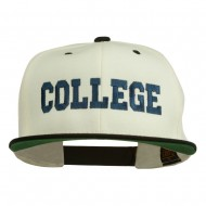 College Embroidered Snapback Cap - Natural Black
