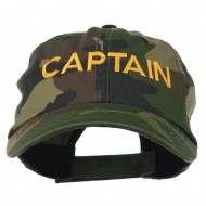 Captain Embroidered Enzyme Washed Camo Cap - Camo