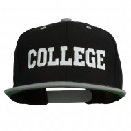 College Embroidered Snapback Cap - Black Silver