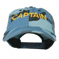 Captain Embroidered Enzyme Washed Camo Cap - Sky