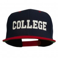 College Embroidered Snapback Cap - Navy Red