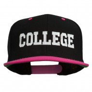 College Embroidered Snapback Cap - Black Pink