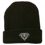 Diamond Embroidered Watch Cap - Brown