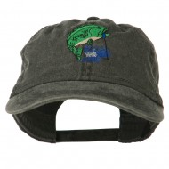 Bass Fishing Embroidered Washed Cap - Black