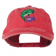 Bass Fishing Embroidered Washed Cap - Red
