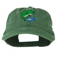 Bass Fishing Embroidered Washed Cap - Dark Green