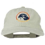 Eagle with Star Circle Embroidered Washed Cap - Stone