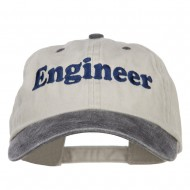 Engineer Embroidered Washed Cap - Beige Black