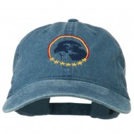 Eagle with Star Circle Embroidered Washed Cap - Navy