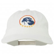 Eagle with Star Circle Embroidered Washed Cap - White