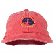 Eagle with Star Circle Embroidered Washed Cap - Red