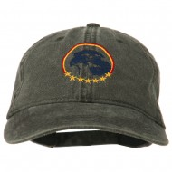 Eagle with Star Circle Embroidered Washed Cap - Black
