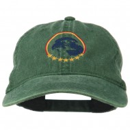 Eagle with Star Circle Embroidered Washed Cap - Dk Green
