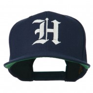 Old English H Embroidered Flat Bill Cap - Navy