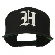 Old English H Embroidered Flat Bill Cap - Black