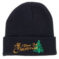 All I Want For Christmas Embroidered Beanie - Navy