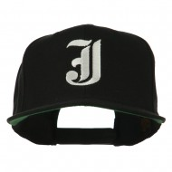 Old English J Embroidered Flat Bill Cap - Black