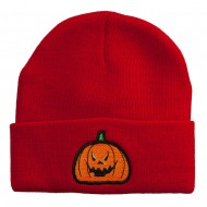 Halloween Evil Jack o Lantern Embroidered Long Beanie - Red