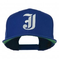 Old English J Embroidered Flat Bill Cap - Royal