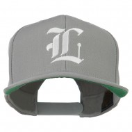Old English L Embroidered Flat Bill Cap - Silver