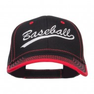 Baseball Embroidered Cotton Structured Cap - Black Red