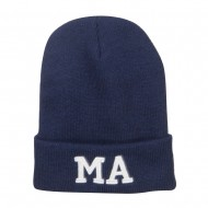 MA Massachusetts Embroidered Long Beanie - Navy