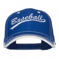 Baseball Embroidered Cotton Structured Cap - Royal White