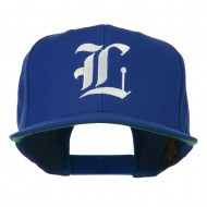 Old English L Embroidered Flat Bill Cap - Royal