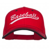 Baseball Embroidered Cotton Structured Cap - Red Black
